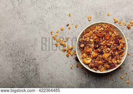 Bowl With Crispy Homemade Granola, Healthy Breakfast Cereal Granola With Oatmeal, Seeds, Nuts, Berri