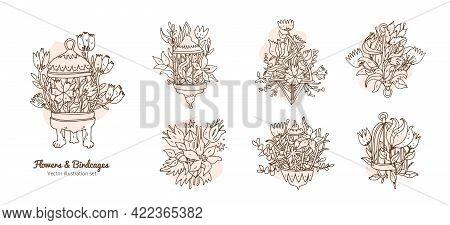 Flowers In A Birdcages Set. Line Art Hand Drawn Doodle Design Elements With Floral Botany At Birdcag
