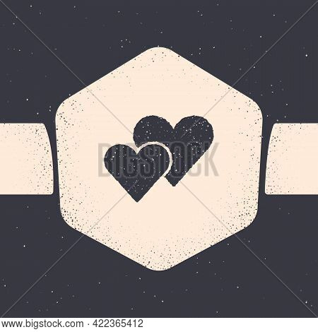 Grunge Heart Icon Isolated On Grey Background. Romantic Symbol Linked, Join, Passion And Wedding. Va