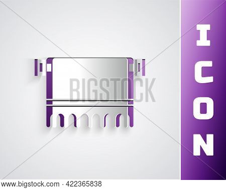 Paper Cut Towel On Hanger Icon Isolated On Grey Background. Bathroom Towel Icon. Paper Art Style. Ve
