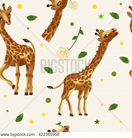 Seamless Pattern Cute Tropical Giraffe, Wild Animals, Flower, Leaf. Pattern With Wild Animal For You