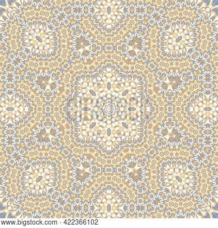 Tile Azulejos Mosaic Seamless Pattern, Oriental Ethnic Patchwork, Tribal Mandala Design