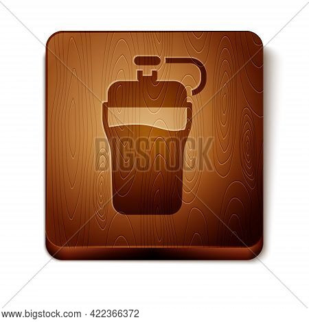 Brown Fitness Shaker Icon Isolated On White Background. Sports Shaker Bottle With Lid For Water And
