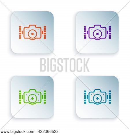 Color Photo Camera For Diver Icon Isolated On White Background. Foto Camera Icon. Diving Underwater