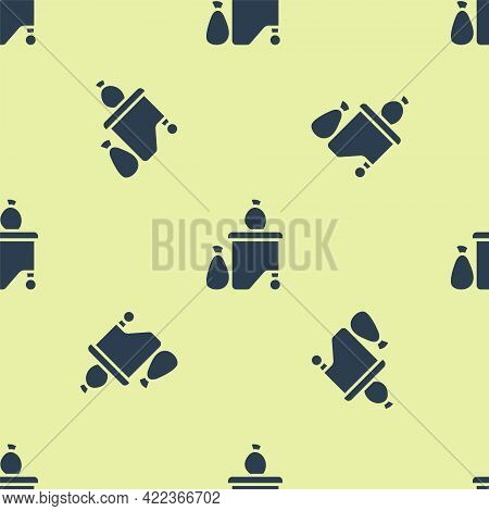 Blue Dumpsters Being Full With Garbage Icon Isolated Seamless Pattern On Yellow Background. Garbage