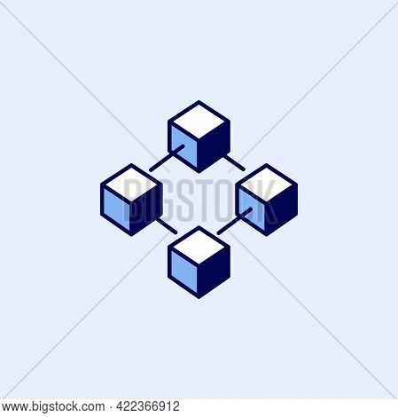 Blockchain Technology Icon. Block Chain Symbol Or Logo Element Simple Style.