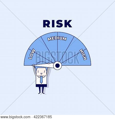 Businessman Hanging On A Risk Meter. Risk On The Speedometer Is High, Medium, Low. Cartoon Character