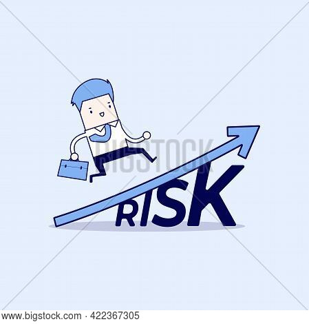 Businessman Walking On Grow Up Stock Market Graph Above The Word Risk. Cartoon Character Thin Line S