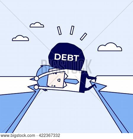 Businessman Trapped In A Cliff With A Debt On His Back. Businessman And Debt Physical Crisis. Cartoo