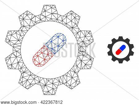 Mesh Vector Pharma Industry Image With Flat Icon Isolated On A White Background. Wire Frame Flat Pol