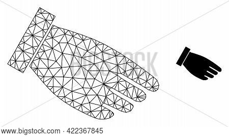 Mesh Vector Hand Palm Image With Flat Icon Isolated On A White Background. Wire Carcass Flat Triangu
