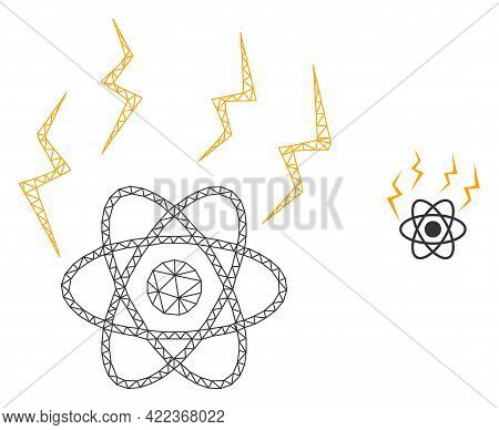 Mesh Vector Atomic Emission Image With Flat Icon Isolated On A White Background. Wire Carcass Flat T