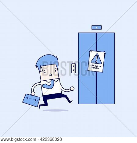 Businessman Are Running To The Elevator. But The Elevator Is Out Of Service. Cartoon Character Thin