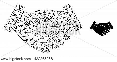Mesh Vector Hand Take Image With Flat Icon Isolated On A White Background. Wire Carcass Flat Triangu