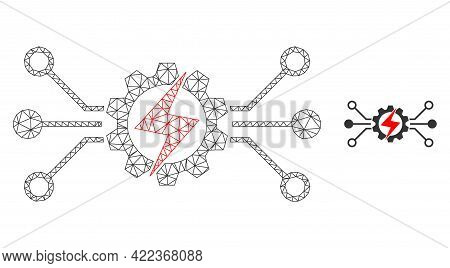 Mesh Vector Energy Hitech Image With Flat Icon Isolated On A White Background. Wire Carcass Flat Pol