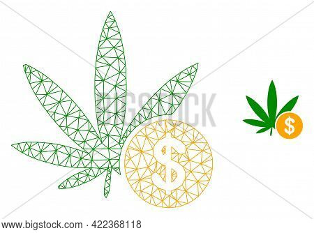 Mesh Vector Cannabis Investing Image With Flat Icon Isolated On A White Background. Wire Frame Flat