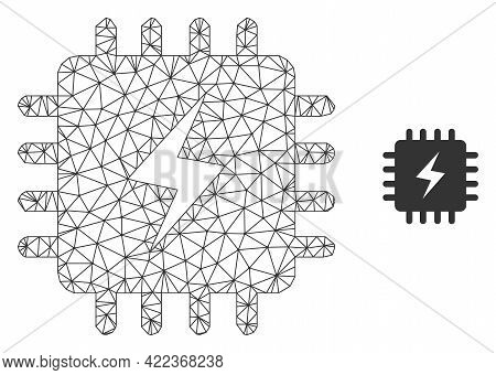 Mesh Vector Power Chip Image With Flat Icon Isolated On A White Background. Wire Carcass Flat Triang