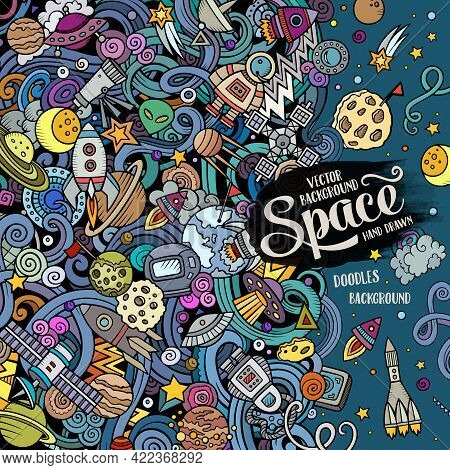 Cartoon Cute Doodles Space Frame Card. Colorful Detailed, With Lots Of Objects Background. All Objec