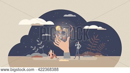Spiritual Experience And Supernatural Astral Moment Tiny Person Concept. Paranormal Trip With Magica
