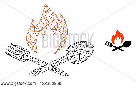 Mesh Vector Hot Food Image With Flat Icon Isolated On A White Background. Wire Carcass Flat Polygona