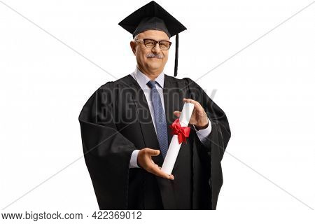 University dean in a graduation gown holding a diploma isolated on white background