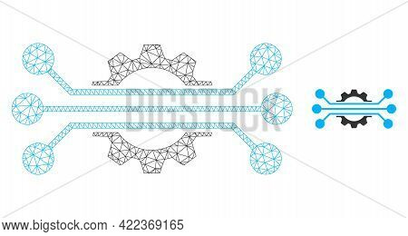 Mesh Vector Hitech Industry Image With Flat Icon Isolated On A White Background. Wire Carcass Flat P
