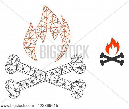 Mesh Vector Hell Fire Bones Image With Flat Icon Isolated On A White Background. Wire Carcass Flat T