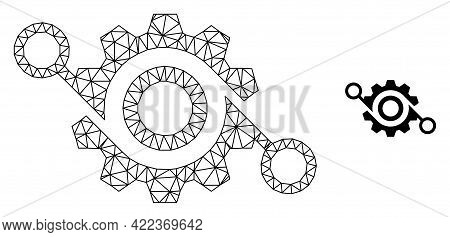 Mesh Vector Gear Project Image With Flat Icon Isolated On A White Background. Wire Frame Flat Polygo