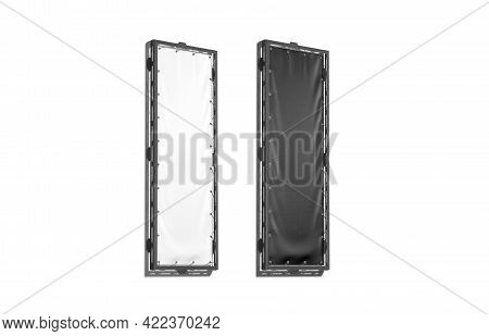 Blank Black And White Vertical Stretching Banner Grip Frame Mockup, 3d Rendering. Empty Narrow Recta