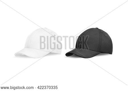 Blank Black And White Baseball Cap Mockup, Half-turned View, 3d Rendering. Empty Textile Or Flannel