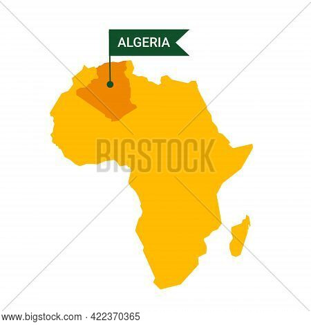 Algeria On An Africa S Map With Word Algeria On A Flag-shaped Marker.
