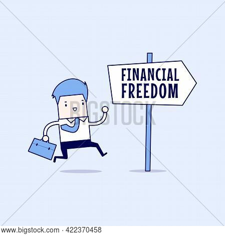 Businessman With Financial Freedom Sign. Cartoon Character Thin Line Style Vector.