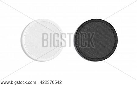 Blank Black And White Round Embroidered Patch Mockup, Top View, 3d Rendering. Empty Cloth Attachment