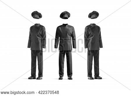 Blank Black Chef Uniform Mockup, Front And Side View, 3d Rendering. Empty Cooker Costume With Toque