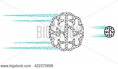 Mesh Vector Rush Brain Image With Flat Icon Isolated On A White Background. Wire Frame Flat Polygona