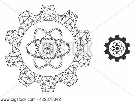 Mesh Vector Atomic Industry Image With Flat Icon Isolated On A White Background. Wire Carcass Flat P