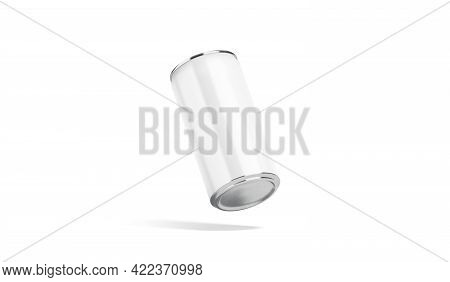 Blank White Aluminum Narrow 280 Ml Soda Can Mockup, No Gravity, 3d Rendering. Empty Steel Pack For C