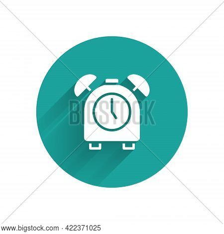 White Alarm Clock Icon Isolated With Long Shadow. Wake Up, Get Up Concept. Time Sign. Green Circle B