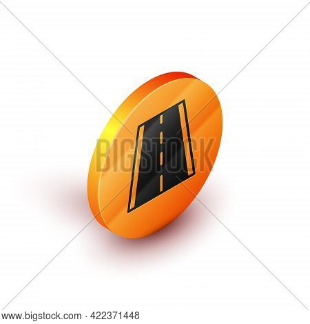 Isometric Special Bicycle Ride On The Bicycle Lane Icon Isolated On White Background. Orange Circle