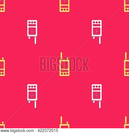 Yellow Walkie Talkie Icon Isolated Seamless Pattern On Red Background. Portable Radio Transmitter Ic