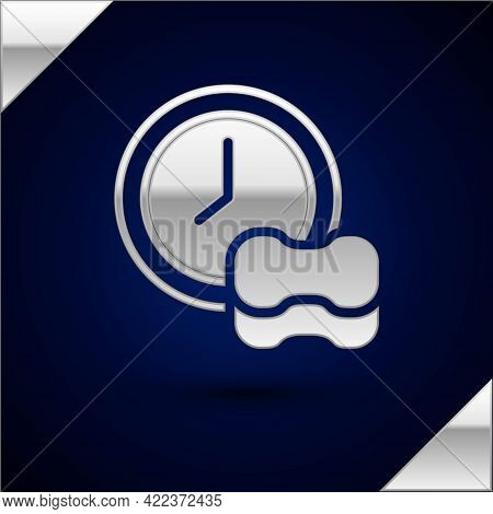 Silver Washing Dishes Icon Isolated On Dark Blue Background. Cleaning Dishes Icon. Dishwasher Sign.