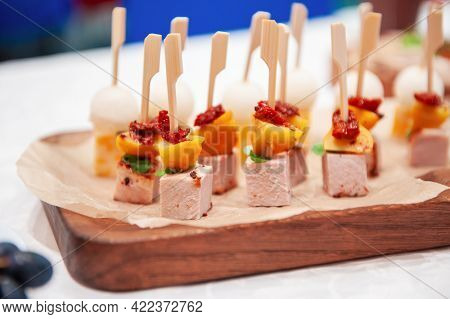 Catering service. Tasty appetizers on the table