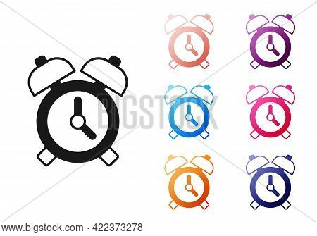 Black Alarm Clock Icon Isolated On White Background. Wake Up, Get Up Concept. Time Sign. Set Icons C