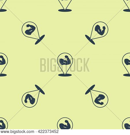 Blue Bodybuilder Showing His Muscles Icon Isolated Seamless Pattern On Yellow Background. Fit Fitnes