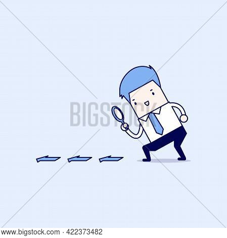 Businessman Searching Through A Magnifying Glass. Searching, Details, Clue Concept. Cartoon Characte
