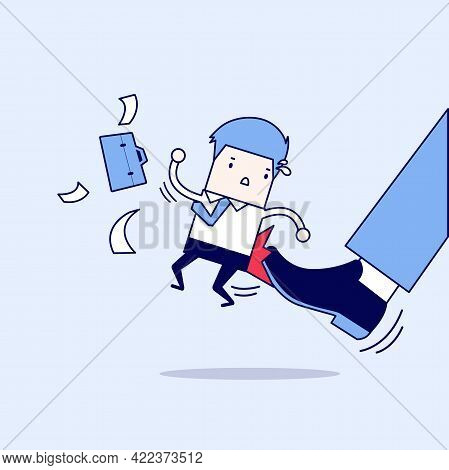 Businessman Being Kicked By Boss. Cartoon Character Thin Line Style Vector.