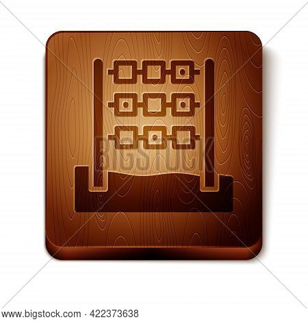 Brown Tic Tac Toe Game Icon Isolated On White Background. Wooden Square Button. Vector