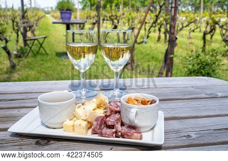 Lunch With Dutch Snacks And White Wine Served Outdoor On Green Meadow With Vineyard, Wine Production