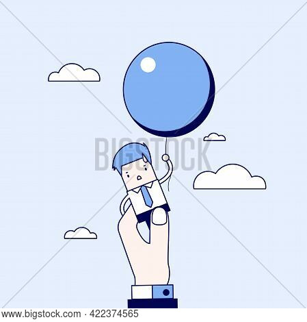 Businessman Flying Away With Balloon But Being Hindered By Businessman Large Hand. Cartoon Character