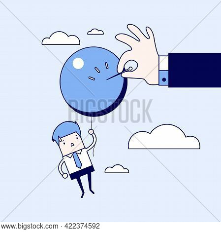 Businessman Hand Pushing Needle To Pop The Balloon. Cartoon Character Thin Line Style Vector.